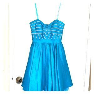 Turquoise and grey party dress